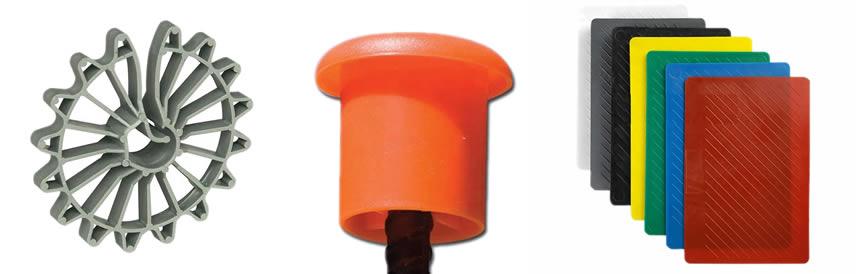 wheel spacer, rebar cap, rebar chair